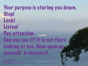 Stop! Look! Listen! Your Purpose is staring you down